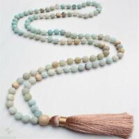 6mm Amazonite Stone 108 Beads Handmade Tassel Necklace Healing Pray Classic