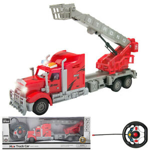 1: 15 Remote Control RC Fire Truck With Extendable Ladder Lights Sounds Kids Toy