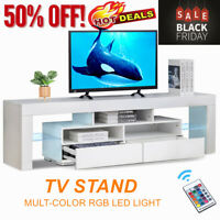 63'' TV Stand Unit Cabinet Console Table RC with Colourful LED Lights High Gloss