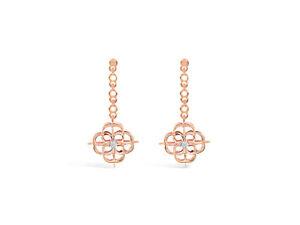 Iconic Signature Diamond Drop Earrings in 18k Rose Gold by Leah Van Meyer