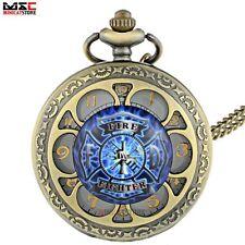 Bronze Petal Fire Fighter Necklace Vintage Pocket Watch Pendant Chain Gift Retro