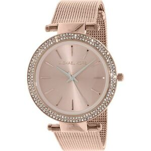 Michael Kors Darci Rose Gold-Tone Mesh Strap Crystal S/Steel Ladies Watch MK3369