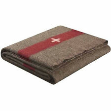 Swiss Army Style Wool Chestnut Blanket Brown, White Cross & Red Stripe 2700