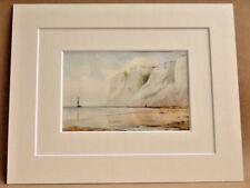 Beachy Head RARISSIMO DOPPIO montato Antico Acqua Colore di stampa 1908 Randall
