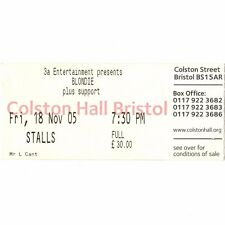Blondie Concert Ticket Stub Bristol 11/13/05 England Colston Hall Debbie Harry