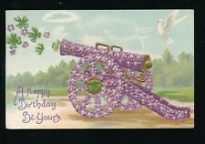 Greetings Birthday embossed violet Flower cannon gun + bird dove PPC 1906