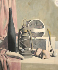 Still Life with Gas Lamp, Bottle, Basket and vegetables gouache painting signed
