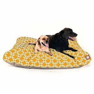 Yellow Links Extra Large Rectangle Indoor Outdoor Pet Dog Bed With Removable ...
