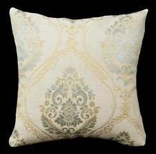 HC543a Lt Gold Lake Green Beige Floral Jacquard Cotton Cushion Cover/Pillow Case