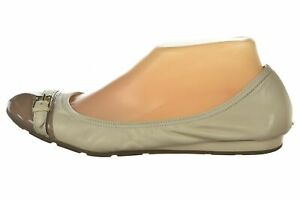 Cole Haan Womens Shoes Size 9 Ivory Taupe Ballet Flats Leather Patent Cap Toe