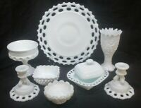 Vintage Milk Glass Decoration Pieces Qty. 8