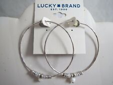 Lucky Brand silver tone beaded hoop earrings, NWT