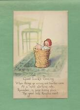 Adorable KEWPIES IN BASKET On A/S ROSE O'NEILL Authentic Vintage 1919 Postcard