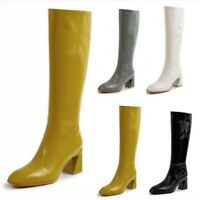 New Women Steampunk Leather Mid Calf Knee High Boots Block Heel Square Toe Shoes