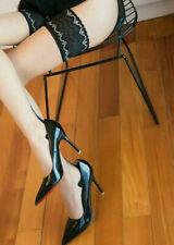 New listing 1Pr 15Dn PlKnit Ult Sheer SeamedThi-Hi's Thin CubanHeels 12-13Xxl Nude Leg/Blkft