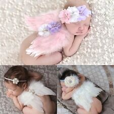 Newborn Baby Girl Boy Cute Angel Wings Costume Photo Photography Prop Outfit Set