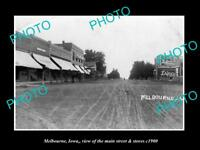 OLD LARGE HISTORIC PHOTO OF MELBOURNE IOWA, THE MAIN STREET & STORES c1900
