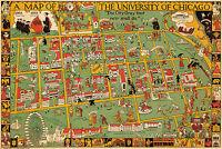 1876 Map Pictorial View of the World Poster Le Tour du Monde en un Clin d/'Oeil