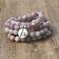 6mm Purple Clove Stone 108 Beads Lotus Pendant Bracelet spirituality Buddhism