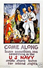 US NAVY Recruiting Poster SEE THE WORLD & Feed Llamas? Fine Art Print / Poster