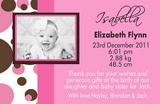 Personalised Birth Announcements Baby Shower Invitations Girl Boy Thankyou Cards