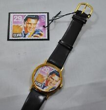 NIB Elvis Commemorative Watch Replica of USPS Elvis Stamp Round Face Gold