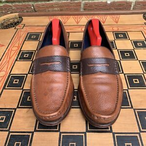 Cole Haan Men 10 M Penny Loafers Slip On NikeAir Brown Leather Two Tone C10942