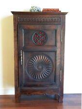 Antique Armoire - French Brittany Oak Bonnetiere storage Cupboard c1880 - h071