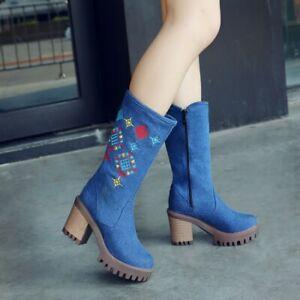 Chinese Style Women's Mid Calf Boots Block High Heels Side Zipper Denim Shoes