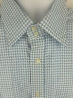 Tommy Hilfiger Shirt Long Sleeve Button Front Houndstooth Blue White Sz XL NWT