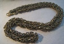 Vintage Unisex Mixed Metal Chain Maille Byzantine Necklace - Watch Clip Clasp