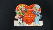 Vintage Sailor & Telephone Valentine Card c. 1940s For-get-me-not