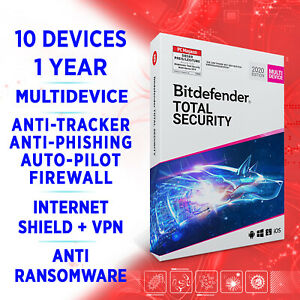 Bitdefender Total Security 2021 Multidevice 10 device 1 year FULLEDITION Key VPN