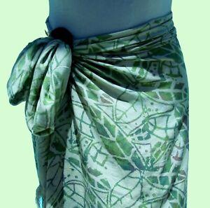 Ivory Green Hand Batik Sarong Pareo Wrap Full Size Rayon Beach Coverup FREE CLIP