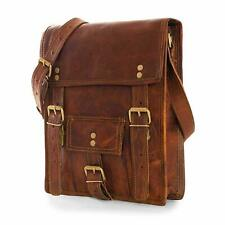 "11"" Men Genuine Handmade Leather Vintage Laptop Messenger Briefcase Bag Satchel"