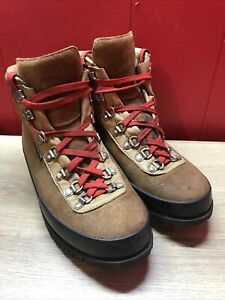 RAICHLE MEN VINTAGE LEATHER RED LACE UP MOUNTAINEERING/HIKING/TRAIL BOOTS S 9.5