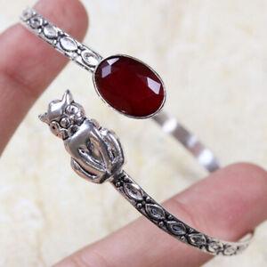 Ruby Cat 925 Silver Plated Gemstone Bangle/Bracelet of Free Size Ethnic Gift