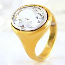 Markenlose ovale Ringe aus Gelbgold mit echten Edelsteinen