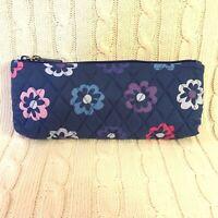 Vera Bradley Brush & Pencil Case Cosmetic Bag Ellie Flowers Blue NWT MSRP $26