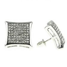 Huge Curve Kite Iced Silver Tone 8 Rows Large Micro Pave 17 mm Mens Big Earrings