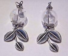 DANDELION SEED WISHING JAR EARRINGS glass bottle orb silver leaves wish luck V2