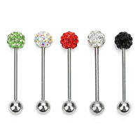 1piece Stainless Steel 6mm Red Blue Crystal Ball Tongue Piercing Body Jewelry