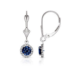 1.25CT Round Blue Sapphire Halo Drop Dangle Leverback Earrings 14K White Gold