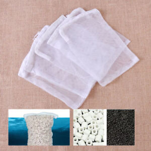 10x White Mesh Aquarium Filter Net Bag Fish Tank Zip Filter Media Bags