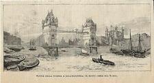 Stampa antica LONDON TOWER BRIDGE progetto Londra 1886 Old antique print