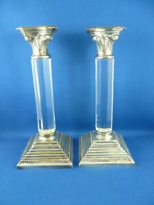 PAIR OF ANTIQUE CRYSTAL & SILVER PLATE CANDLESTICKS STAMPED WHITEHILL
