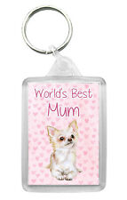 Chihuahua (Long Coat) Keyring 'World's Best Mum' Keyfob Novelty Mothers Day Gift