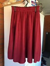 New Women Midi Flared Skater Skirt Faux Suede Red Size10