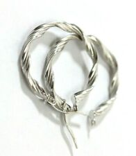"Italy 14K WHITE GOLD Womens Hollow ""Twisted Hoop"" Earrings: 1.4 Grams"