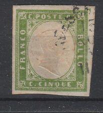 FRANCOBOLLI 1859 SARDEGNA 5 C. VERDE GIALLO BRILLANTE Z/358